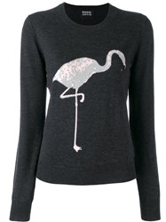 Markus Lupfer Sequin Flamingo Sweater Grey