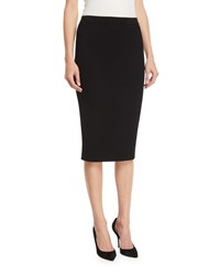 St. John Flat Rib Knit Pull On Knee Length Skirt Black