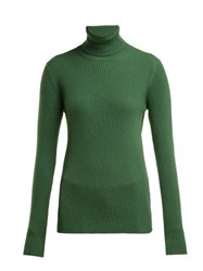 Hillier Bartley Roll Neck Ribbed Cashmere Sweater Green