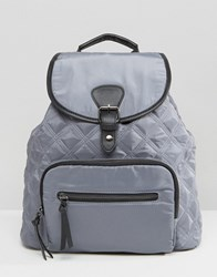 New Look Nylon Quilted Backpack Grey