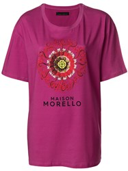 Frankie Morello Front Embroided T Shirt Pink And Purple