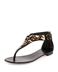 Giuseppe Zanotti Suede Metal Feather Thong Sandal Nero