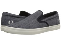 Fred Perry Underspin Slip On Printed Canvas Navy Porcelain Shoes Blue