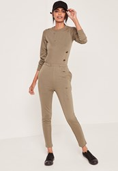 Missguided Loop Back Distressed Jumpsuit Khaki