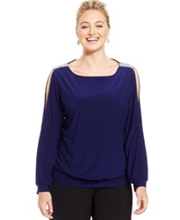 Msk Plus Size Embellished Cold Shoulder Blouse Midnight