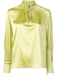 Each X Other Pin Tuck Satin Blouse Green