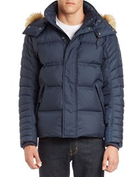 Andrew Marc New York Faux Fur Trimmed Puffer Coat Blue