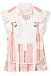 Sacai Buckled Paneled Striped Cotton Blend Top Red