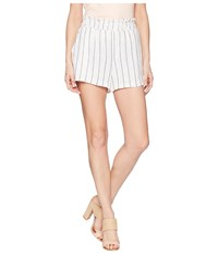Vince Camuto Two By Pinstripe Linen Pull On Shorts Ultra White