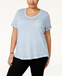 Styleandco. Style Co. Plus Size Burnout T Shirt Only At Macy's Industrial Blue