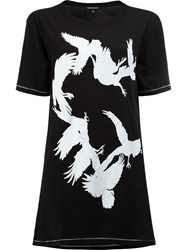 Ann Demeulemeester Bird Print Open Back T Shirt Black