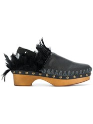 Mou Feathered Clogs Black