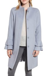 Trina Turk Sara Ruffle Cuff Wool Blend Coat Pale Blue