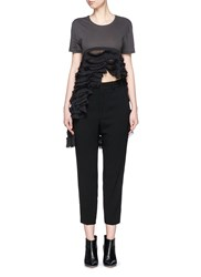 Haider Ackermann 'Awuna' Asymmetric Tiered Ruffle T Shirt Black