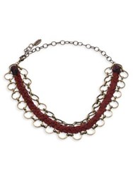 Ettika Braided Leather And Chain Link Choker Brown