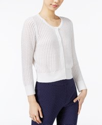 Maison Jules Honeycomb Stitch Cotton Cardigan Only At Macy's Bright White