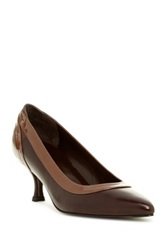 Stuart Weitzman Collarama Leather Kitten Heel Brown