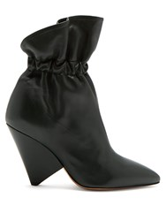 Isabel Marant Lileas Leather Ankle Boots Dark Green