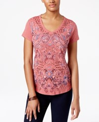 Styleandco. Style Co. Petite Paisley Print T Shirt Only At Macy's Mk Lipstick