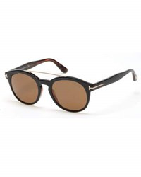 Tom Ford Newman Round Shiny Acetate Sunglasses Black