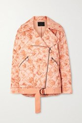 Mother Of Pearl Net Sustain Quilted Floral Print Satin Biker Jacket Peach