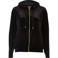 River Island Womens Black Velour Zip Hoodie