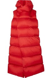 Rick Owens Oversized Quilted Shell Down Coat Red