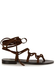 Saint Laurent Nu Pieds Lace Up Suede Sandals Dark Brown