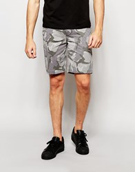 Asos Chino Shorts In Gray Camo Print Gray