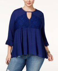American Rag Trendy Plus Size Lace Peasant Top Only At Macy's Egret