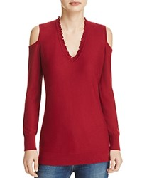 Love Scarlett Ruffle V Neck Cold Shoulder Sweater 100 Bloomingdale's Exclusive Red