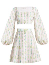 Emilia Wickstead Ines Floral Print Linen Crop Top And Skirt Pink Print