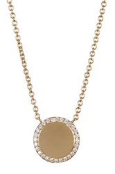 Nordstrom Rack Pave Cz Halo Disc Pendant Necklace White