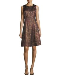 Lafayette 148 New York Sleeveless Brocade Zip Front Dress Red