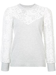 Rebecca Taylor Lace Embroidered Sweater Cotton Nylon Wool Grey