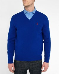 Polo Ralph Lauren Royal Blue Lambswool V Neck Sweater