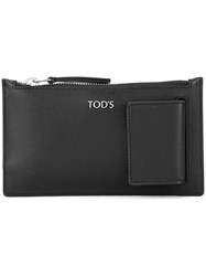 Tod's Logo Plaque Coin Purse Black