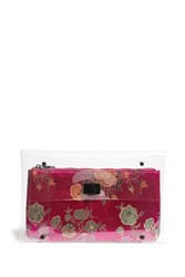 Forever 21 Clear Turn Lock Clutch And Pouch Pink Multi