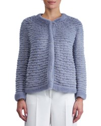 Gorski Round Neck Layered Mink Jacket Light Blue