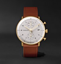 Junghans Max Bill Chronoscope 40Mm Stainless Steel And Leather Watch Brown