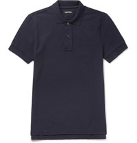 Tom Ford Garment Dyed Cotton Pique Polo Shirt Midnight Blue