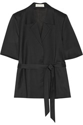 Merchant Archive Belted Wool Sateen Jacket Black
