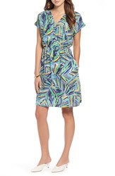 Halogen Faux Wrap Dress Green Blue Palm Print