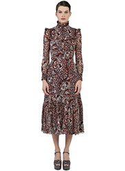 Saint Laurent Long Frilled Leopard Print Folk Dress Red