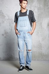 Forever 21 Distressed Denim Overalls Light Denim