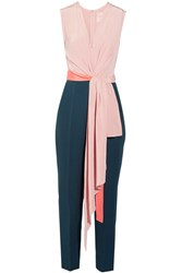 Roksanda Ilincic Rokuro Crepe De Chine And Jersey Jumpsuit Blush