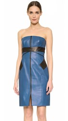 J. Mendel Leather Bustier Dress Blue Steel