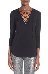 Women's Leith Lace Up Long Sleeve Top Black
