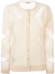 Nina Ricci Lace Panel Cardigan Nude And Neutrals