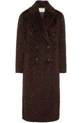 By Malene Birger Ayana Double Breasted Brushed Knitted Coat Brown